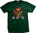 Motorcycle Flame Cross Chopper Flag Genuine Bike FREE SHIPPING New Men T-shirt