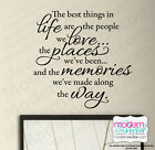 THE BEST THINGS IN LIFE Quote Vinyl Wall Decal Inspirational LOVE, MEMORIES
