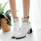 Ladies Block Heel Stylish Pointy Toe Ankle Boot Sexy Side Zip Shoes Plus Size