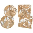 Four Natural White Birds on Branch Design Square / Round Wooden Coasters * Gift