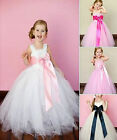 Girls-Bridesmaid Princess-Pageant-Prom-Flower girl dress 1-7 years White dress