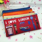I Love London Canvas Pen Pencil Case Stationery Bag Makeup Cosmetic Bag Pouch Y