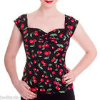 Hell Bunny Cherry Pie Rockabilly Retro Vintage Cherry Gypsy Top Blouse 8 - 16