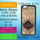 Marauders Map Harry Potter Apple iPhone Samsung Galaxy Phone Case SE S7 Rubber