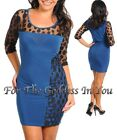 D77 BLUE & BLACK POLKA DOT LACE BODYCON DRESS WOMENS SIZE S M L
