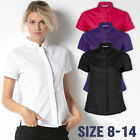 Ladies Womens Blouse Shirt Top Short Sleeve Work Office Formal Mandarin Collar