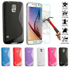 S Line TPU Gel Silicone Case Cover & Tempered Glass For All Samsung Galaxy Phone