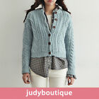 JB womens top twisted rope crop sweater cardigan
