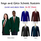 (FREE P&P) Boys Girl School Blazer Jacket Uniform Black Bottle Green Maroon Navy
