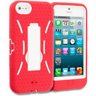 Red White Rugged Heavy Duty Hybrid Cover Case w/ KickStand for iPhone 5 5S