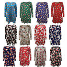 Ladies Womens Xmas Santa Snowman Penguin Print Swing Dress Plus Size Shirt Top