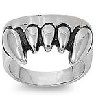 Stainless Steel Shiny Gothics Dracula Vampire Fangs Good Luck Ring Size 8-16