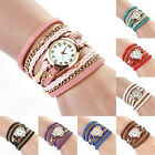 Women's Charm Candy Vintage Weave Wrap Rivet Leather Bracelet Wrist Watch YW