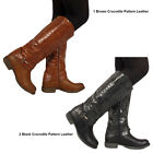 NEW WOMENS LADIES KNEE BOOTS CASUAL CROCODILE PTN RIDING BIKER  ALL SIZES