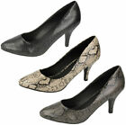 Ladies Spot On Snakeskin Design Court Shoes Sizes 3-8 F9731