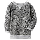 Carter's Girls Grey Leopard Print French Terry Raglan Long Sleeve - Toddler