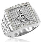 New 14k White Gold Watchband Design Men's Masonic CZ Ring