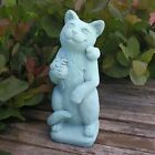 Cast Stone Cement  Cat with Flower Outdoor Garden Statue