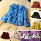 Likable Warm Design 100% Real Rabbit Fur Short Coat Jacket Outwear Women Winter