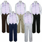 4pc Boy Suit Set Lilac Lavender Necktie Vest Baby Toddler Kid Formal Pants S-7