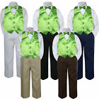 Внешний вид - 4pc Boy Suit Set Lime Green Bow Tie Vest Baby Toddler Kid Formal Pants S-7