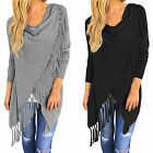 Women's Asymmetric Fringe Tassels Batwing Loose Jumper Cape Shawl Cardigan Tops