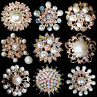 Wholesale Lot 12-100 Gold Pearl Rhinestone Crystal Pin Brooches Wedding Bouquet