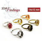4pcs Adjustable Locking Ring Oval 14x10mm Bezel For Setting - Choose Your Finish