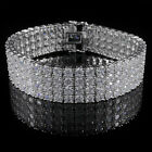 18K White Gold Plated 4 Row Prong Set CZ Bling Iced Out Silver Tennis Bracelet