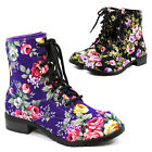 Womens Flower Floral Print Lace Up Combat Boots Fashion Military Boot Shoes New