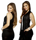 BLACK Simple Basic Comfy Cover-up VEST Jacket Open Front Cardigan Draped Shawl