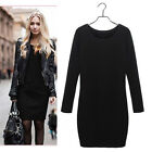 Women Chic Winter Dress Pure Color Casual Dress Long Sleeve Sexy Slim Dress MO
