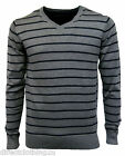MENS NEW Marfinno QUALITY STRIPE COTTON MIX V NECK SWEATER JUMPER sz S - XL GREY