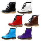 Womens Shine Color Lace Up Combat Boots Martin Style Fashion Military Shoes New