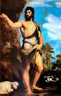 Classic Italian Renaissance art print of a saint: John the Baptist by Titian