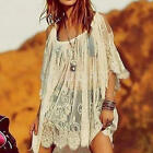 Vintage Hippie Boho Bell Sleeve Sexy Floral Crochet Summer Beach Mini Dress