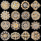 Wholesale Lot 15-100 Gold Plated Rhinestone Crystal Brooch Pin Wedding Bouquet