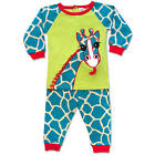 Sozo Boys 2 Piece Lime/Blue Giraffe Cotton Pajama Set with Long Sleeve Raglan To