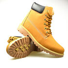 Mens Tan Black Yellow Boots Leather Walking Hiking Trail Work Trainers Military