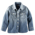 OshKosh Boys Blue Denim Button Down Long Sleeve Shirt - Toddler