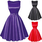 Womens Pleated Party Prom Dress 50's Bridesmaid Vintage Swing Pinup