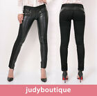 JB womens double zipper point leather mix black skinny jeans