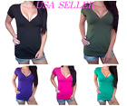 SEXY BUTTON MILITARY HENLEY LOW CUT STRETCHY PLUS SIZE WOMEN T-SHIRT TOP 1X2X3X