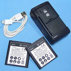 2x 3850mAh Battery External Charger USB Cable For Samsung Galaxy Core Prime Ting