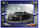 BUGATTI SPORTS CAR A4 EDIBLE CAKE TOPPERS RECTANGLE ICING SHEET RICE WAFER CARD