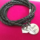 Leather Wrap Wristband Bracelet 'I Love You Sister' Ladies Girls Sisters Gift