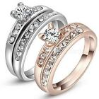 Hot Wedding Engagement Ring Set Plated White Gold Rose Gold Size 6 7 MSYG