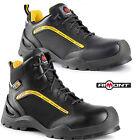 MENS SAFETY COMPOSITE TOE CAP LEATHER BLACK LIGHT NON METAL HIKER BOOTS SHOES