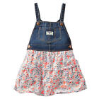 OshKosh Girls Blue Denim Jumper with Floral Print Layered Skirt