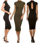 CUT OUT Back mock bodycon Tank Jersey Sheath Evening Career Fitted Pencil Dress